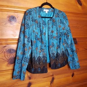 Coldwater Creek Size 12 Teal Brown Ombre Blazer